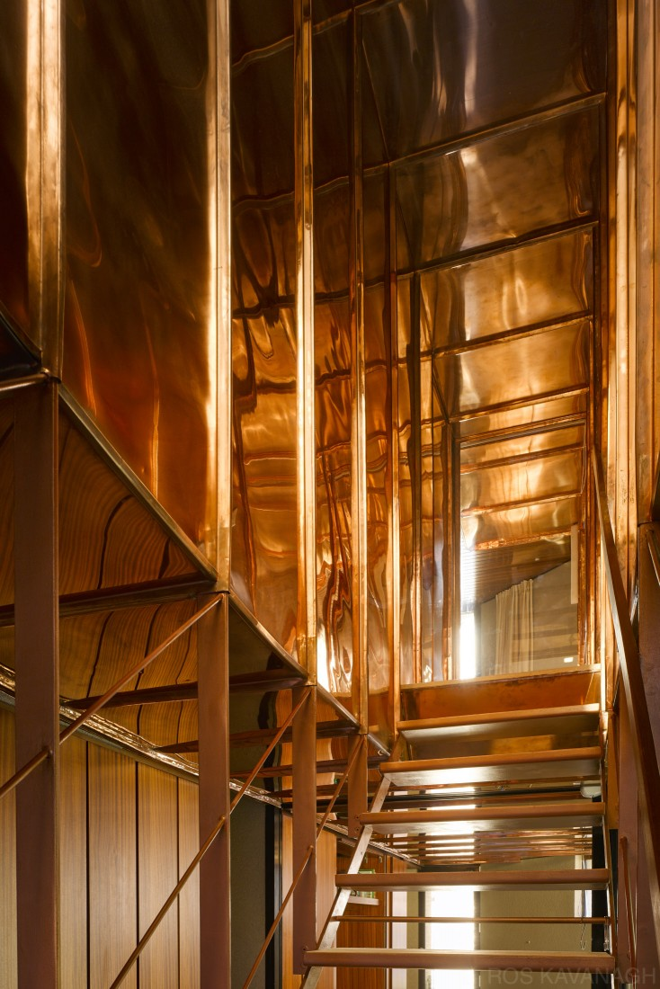 Interior view of copper staircase