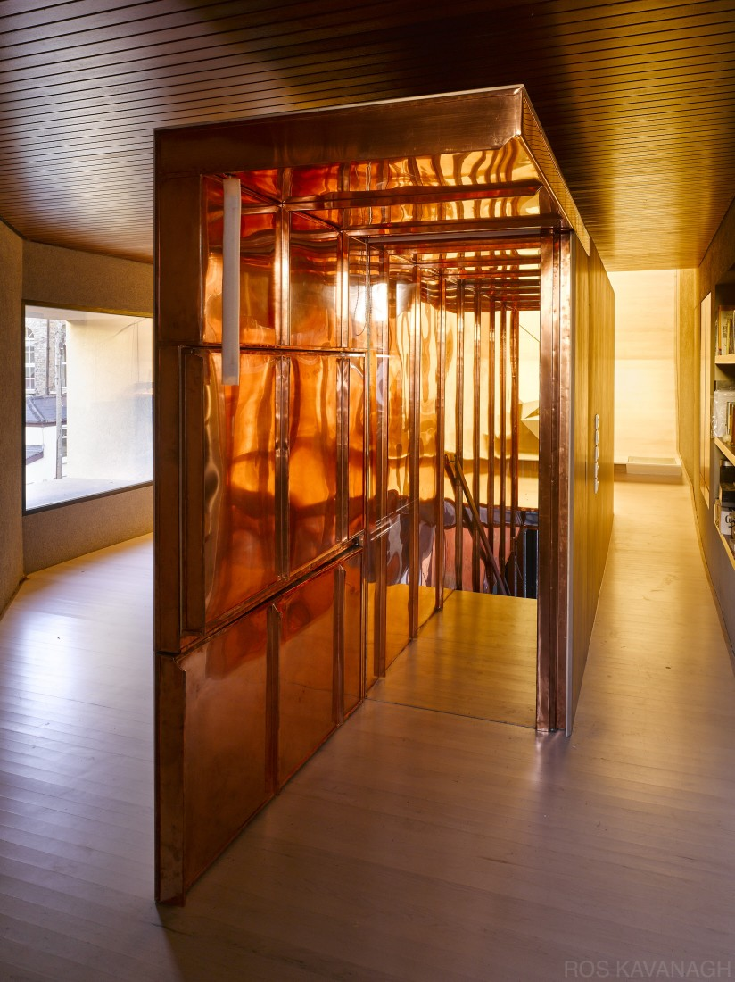 Interior view of copper staircase enclosure