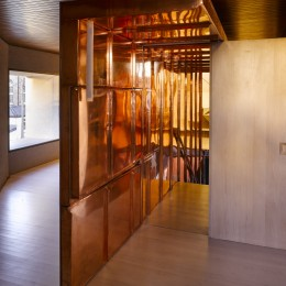 Interior view of copper staircase enclosure showing door open