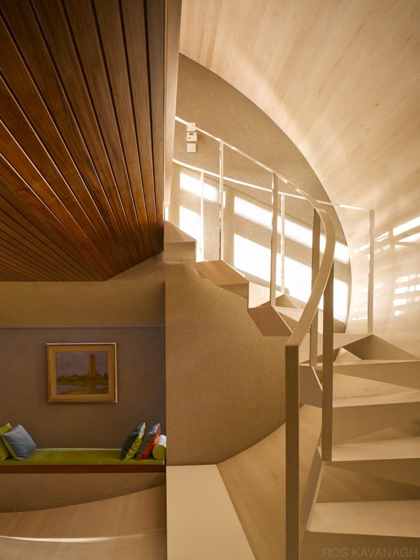Interior view of steel stairway
