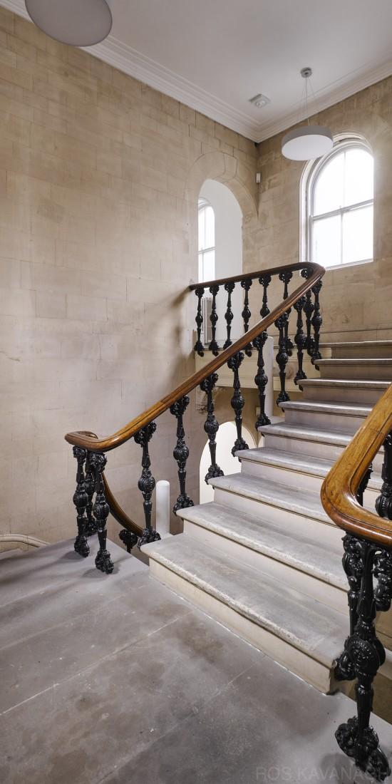 Interior view showing granite stairs