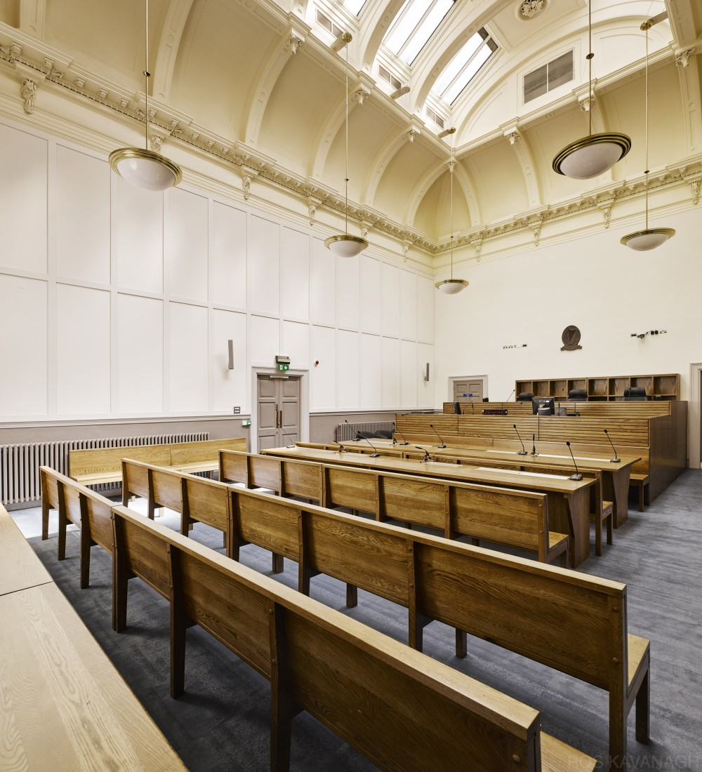 Interior view of courtroom