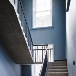 Interior view of stairwell showing flooring