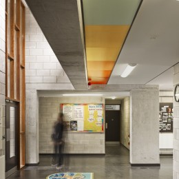 View of interior entrance showing coloured ceiling panels