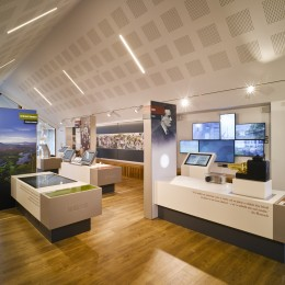 Interior view of exhibition area showing ceiling pitch an install