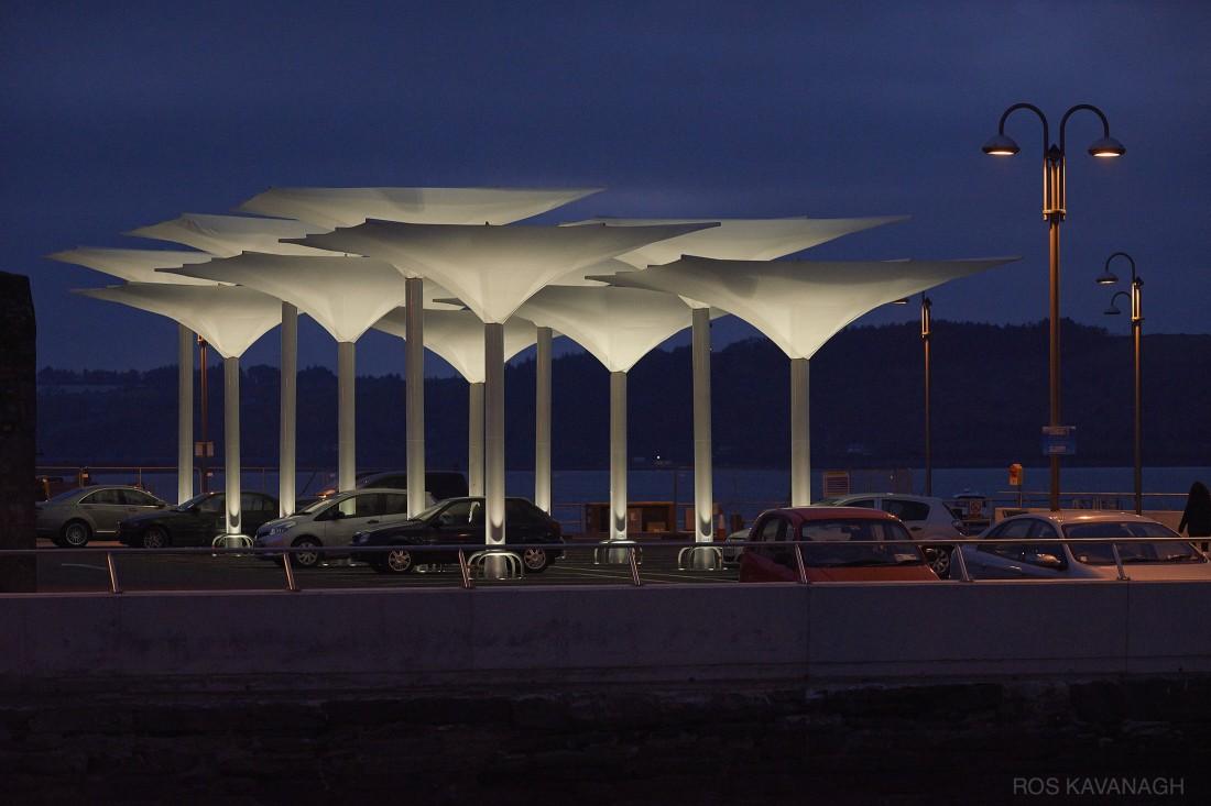 View of umbrellas at dusk