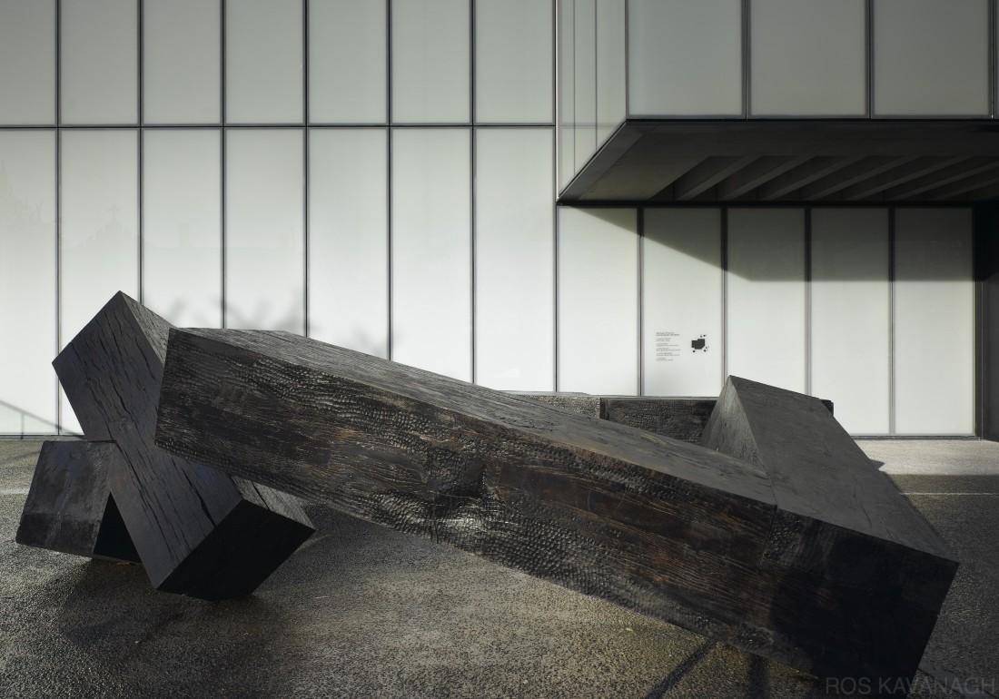 Elevation view of Dark Night sculpture